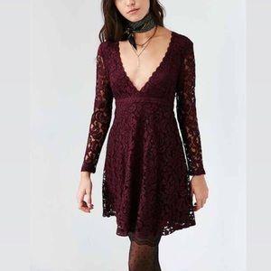 Kimchi Blue (UO) lace dress in burgundy